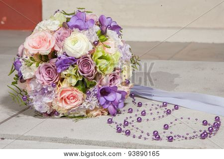 Wedding Bridal Bouquet With Purple Beads