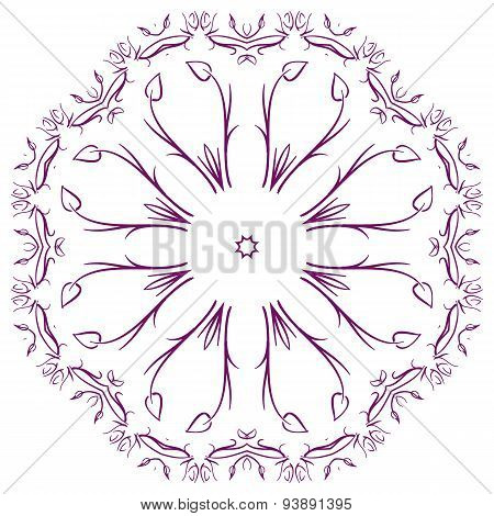 Circular Abstract Pattern In Arabic Style.