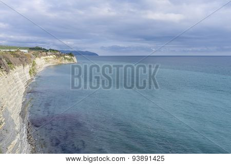 Steep shore of the black sea