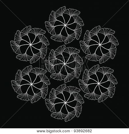White Gingko Leaf Circle Sketch Doodle Pattern On Black