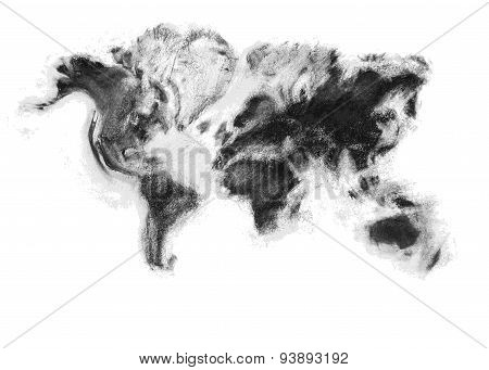 Charcoal Artistic Vector World Map