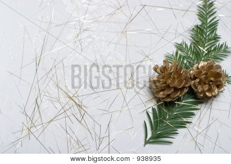 Holiday Card With Fir Branch And Golden Cones