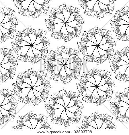 Black Gingko Leaf Circle Sketch Doodle Pattern