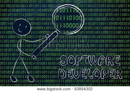 Man Inspecting Binary Code, Information Technology Professions
