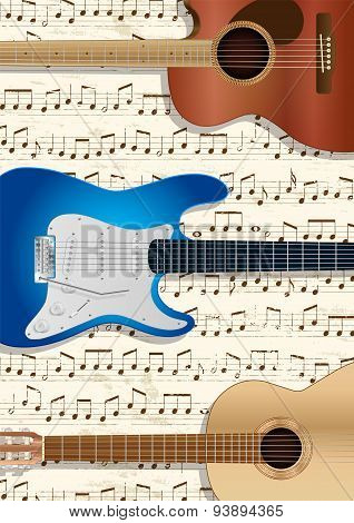 Guitars And Music Background