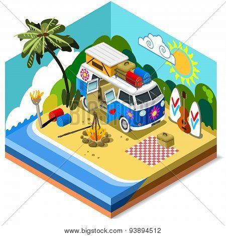 Beach Life Icon 3D Isometric