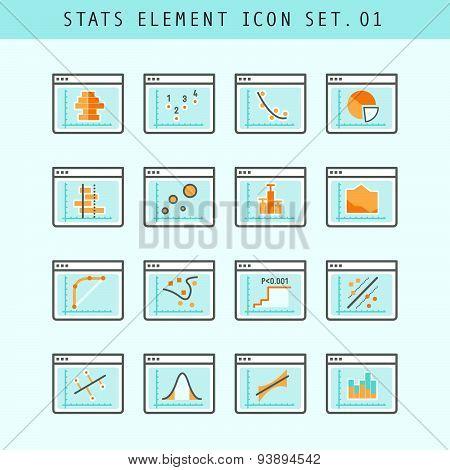 Line Flat Icons Statistic Elements Set