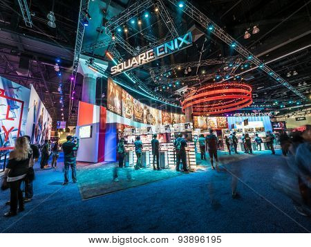 LOS ANGELES - June 17: Square Enix booth at E3 2015 expo. Electronic Entertainment Expo, commonly known as E3, is an annual trade fair for the video game industry