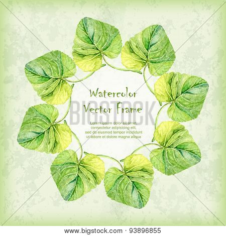 Vector Round Frame With Watercolor Violet Leaves On Vintage Background