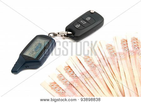 Rubles Banknotes And Car Alarm