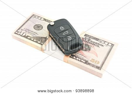 Fifty Dollars Banknotes And Car Alarm