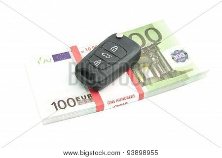 One Hundred Euros Banknotes And Car Keys