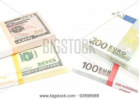 Packs Of Euros And Dollars