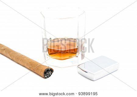 Cigar, Lighter And Cognac