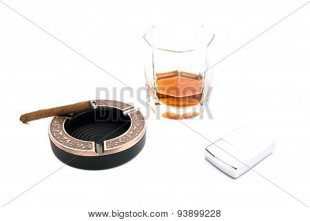 Cigarillo, Cognac And Lighter