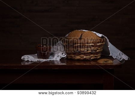 Still Life With Cookies In A Basket
