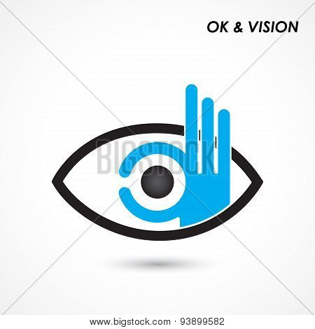 Ok Hand With Eye Sign. Business And Vision Concept. Company Logo,hand Ok Symbol Icon.