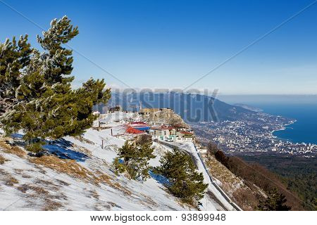 Panorama View Of Yalta Town From Ai-petri Mountain. Snow And Iced Pine Trees On Sunny Winter Day.