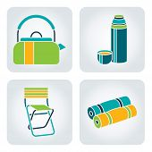 picture of kettles  - Set of 4 icons with camping supplies - JPG
