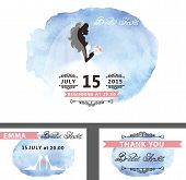 image of bridal veil  - Wedding  Bridal shower invitation template set with watercolor cyan  stain - JPG