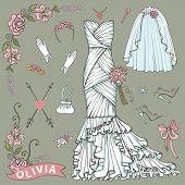picture of bridal veil  - Vintage composition of wedding long dress with handbag - JPG
