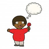picture of child obesity  - cartoon fat child with thought bubble - JPG