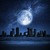 pic of stonehenge  - An image of Stonehenge with a full moon - JPG