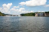 image of dam  - Wide angle view of the Bankhead Lock and Dam on the Warrior River in Alabama - JPG