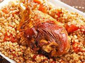 foto of buckwheat  - Turkey with buckwheat and tomatos shot from above - JPG