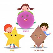 Cute Little Cartoon Kids With Basic Shapes (star, Circle, Diamond) poster