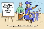 image of breath taking  - Business cartoon showing a war taking place while the seminar leader is teaching - JPG