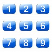 picture of numbers counting  - Numbers Counting Square Vector Blue Icon Design Set - JPG