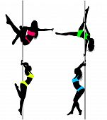image of pole dancer  - Four Pole dancers sexy silhouettes in bright pink yellow green light blue sport clothes - JPG