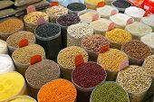 picture of soya beans  - Grains and Beans Groceries in Bulk Bags at Market - JPG