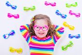 stock photo of spectacles  - Child wearing eye glasses - JPG