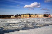 stock photo of winter palace  - view of the Menshikov Palace during the ice drift - JPG