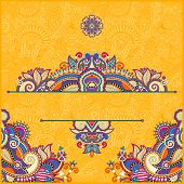 image of neat  - yellow invitation card with neat ethnic background - JPG