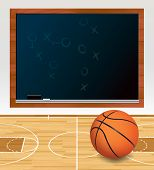image of x-files  - An illustration of a basketball on a hardwood court with plays written on a black chalkboard - JPG