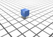 picture of cube  - Blue different cube on a floor of white cubes - JPG