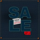 stock photo of denim jeans  - The illustration of  beautiful jeans sale patchwork element on a textured background - JPG