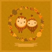 image of amusement  - vector amusing card with owls and decorative round floral frame - JPG