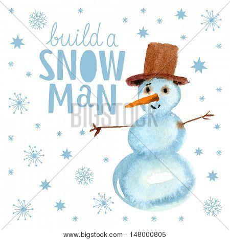 Christmas card, watercolor snowman