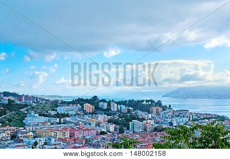 MESSINA ITALY - OCTOBER 2 2012: The modern districts of the city with the Messina Strait separating Sicily from Italian mainland on October 2 in Messina.