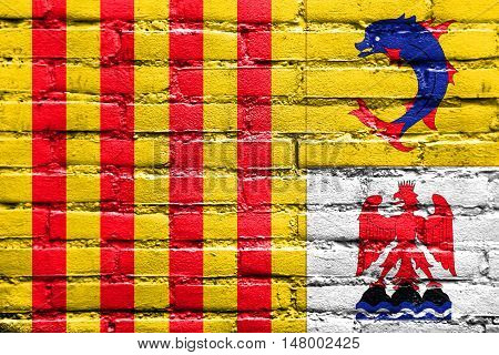 Flag Of Provence Alpes Cote D'azur, France, Painted On Brick Wall