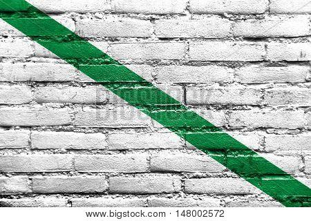 Flag Of Quevedo, Ecuador, Painted On Brick Wall