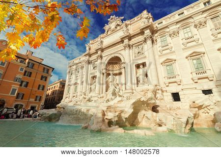 view of restored Fountain di Trevi in Rome at fall day, Italy