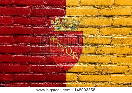Flag Of Rome With Coat Of Arms, Italy, Painted On Brick Wall
