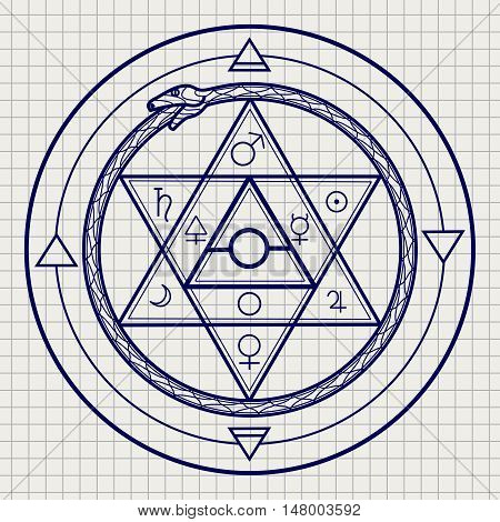 Mystical astrological sign with alchemy elements and uroboros on notebook page. Vector illustration