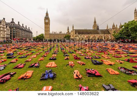 A sea of 2,500 lifejackets worn by refugees displayed on Parliament Square in central London, September 19th 2016.