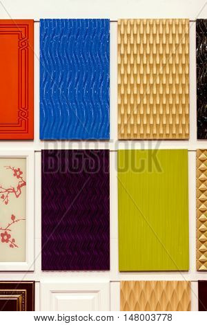 Exterior colorful ceramic tiles. Surface square textures.